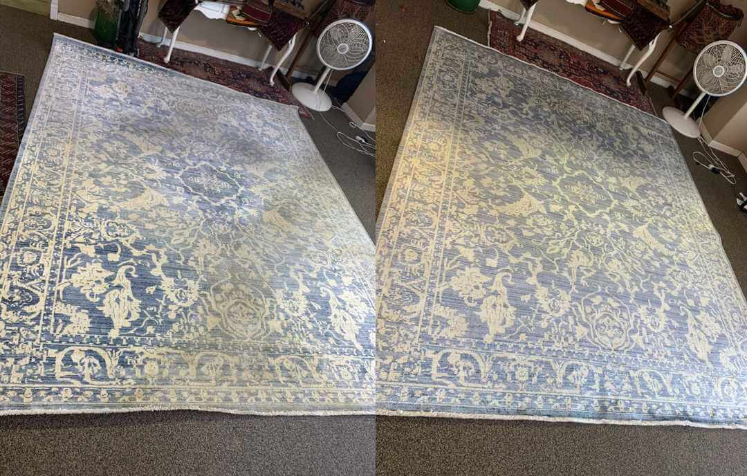 Before and After Photo of Traffic Patterns on Viscose Rug